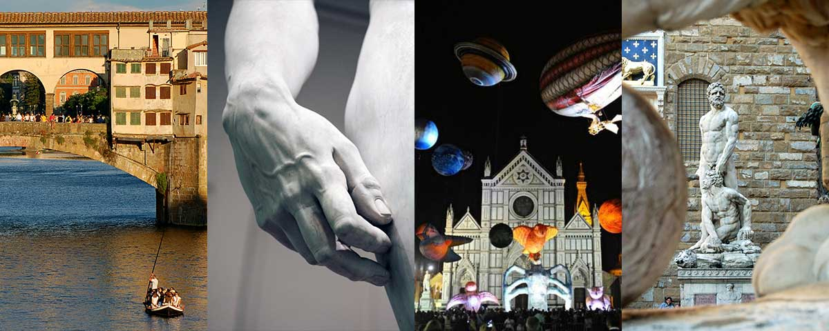Cultural activities: Ponte Vecchio, detail of the David, white night in Santa Croce, statue of Hercules and Cacus in Piazza della Signoria