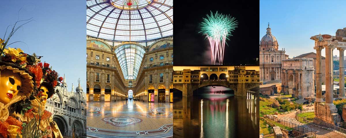 Impara l'italiano viaggiando in Italia tra Venezia, Milano, Firenze e Roma
