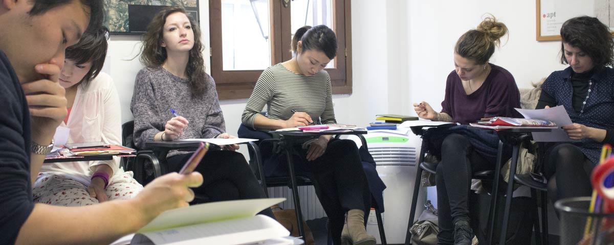 Learning Italian in classroom