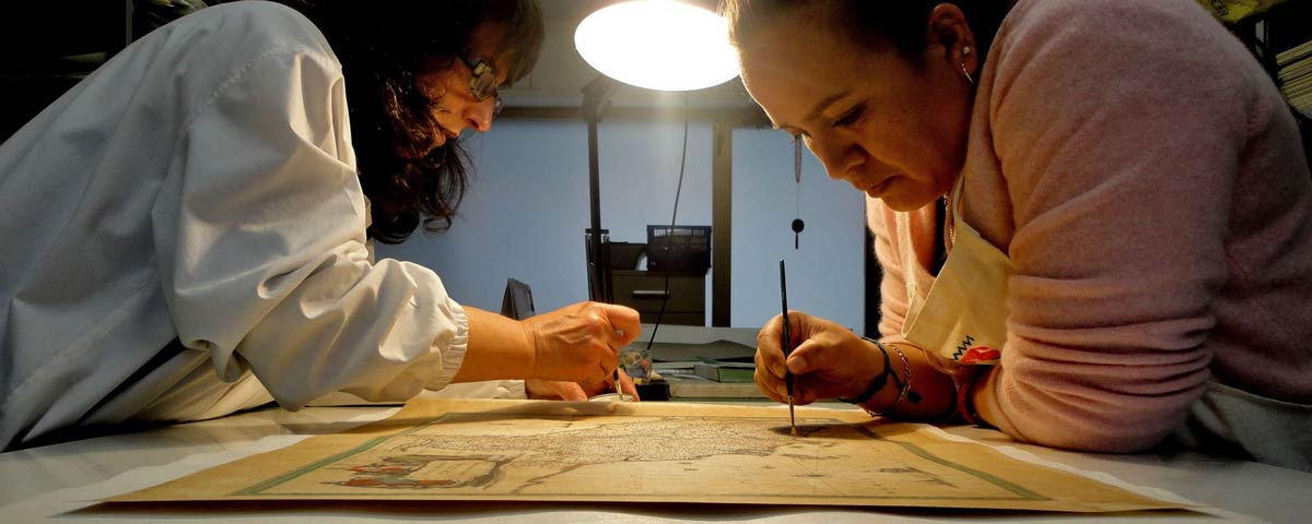 Restoration of antique books, drawings and cards