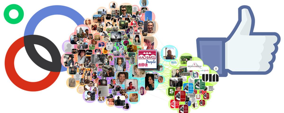 Infográfica de la red social entre docentes, estudiantes, escuelas y entes de cultura italiana
