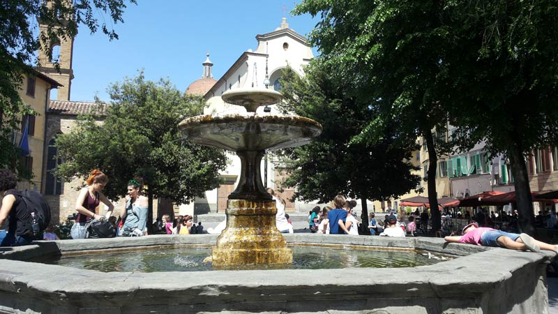 The fountain in Piazza Santo Spirito, square of the location of our Italian language school in Florence